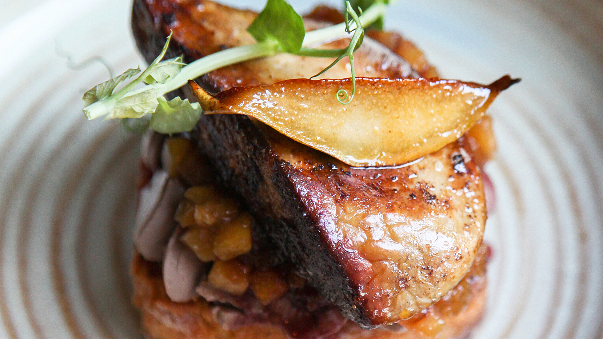 Pan-fried foie gras on toast and pear chutney