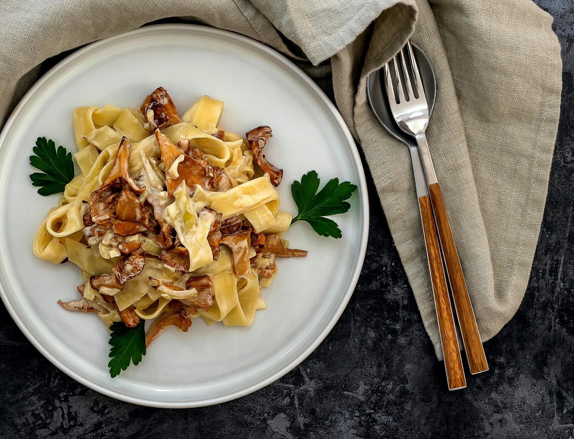 Tagliatelle with girolles mushrooms